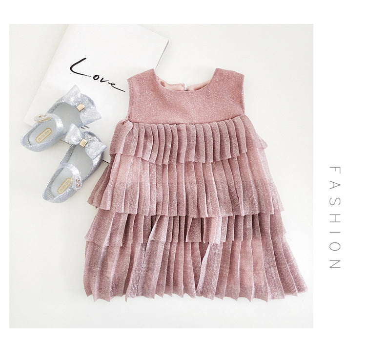 Girls Korean Styled Mesh Layered Dress