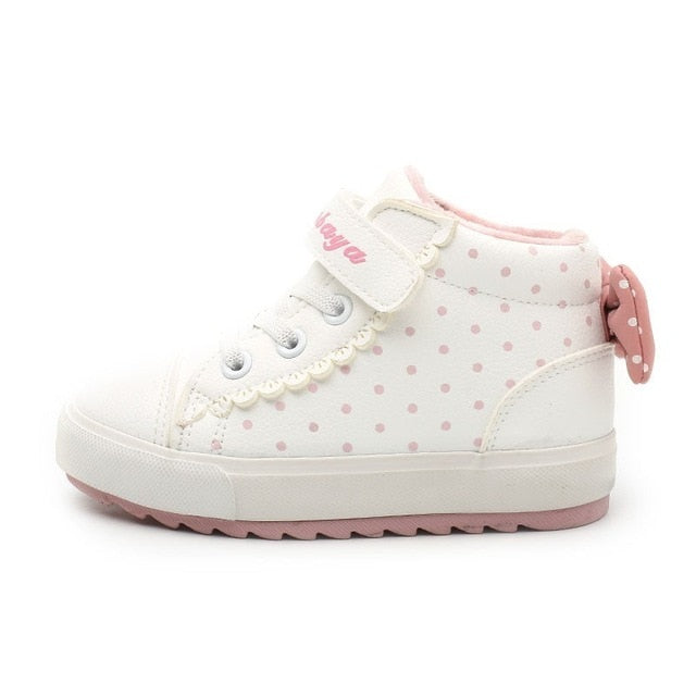 Girls Polka Dot Casual High-top Sneakers