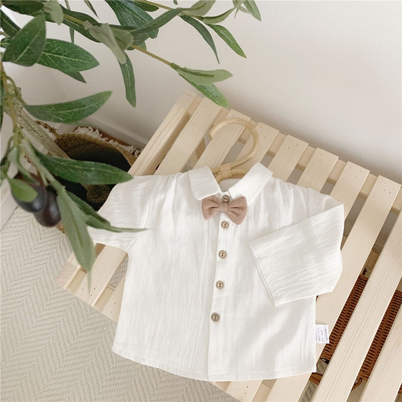 Baby Boys White Press Shirt + Bow Tie - Little Swan Boutique