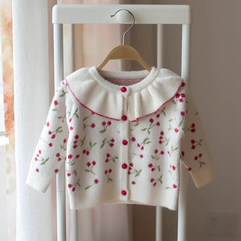 Cute Girls Cherry Printed Cardigan - Little Swan Boutique