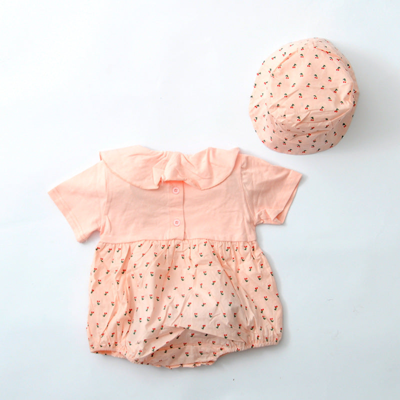 Baby Girls Floral Romper And Bonnet - Little Swan Boutique