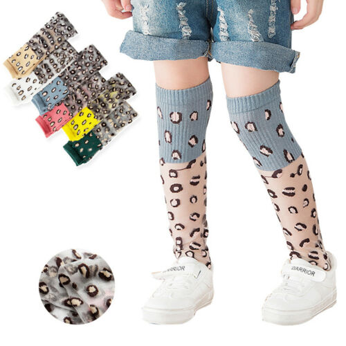 Girls Knee High Leopard Print Socks