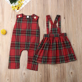 Girls Matching Plaid Christmas Romper + Dress