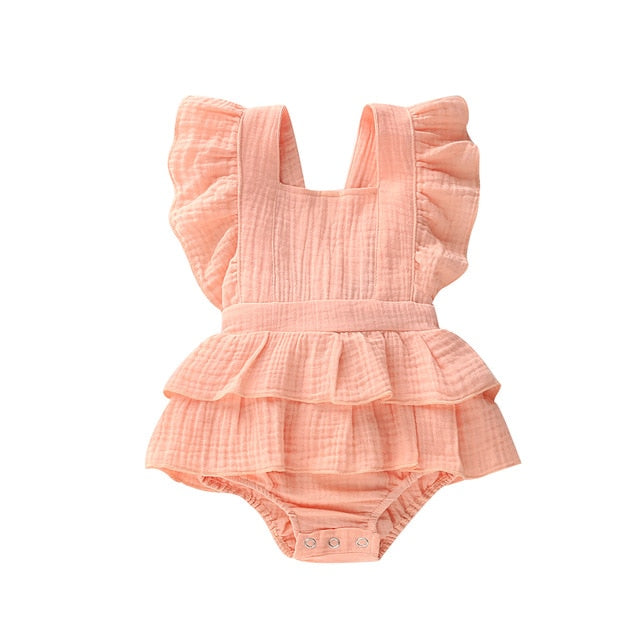 Baby Girls Solid Ruffled Sleeveless Romper
