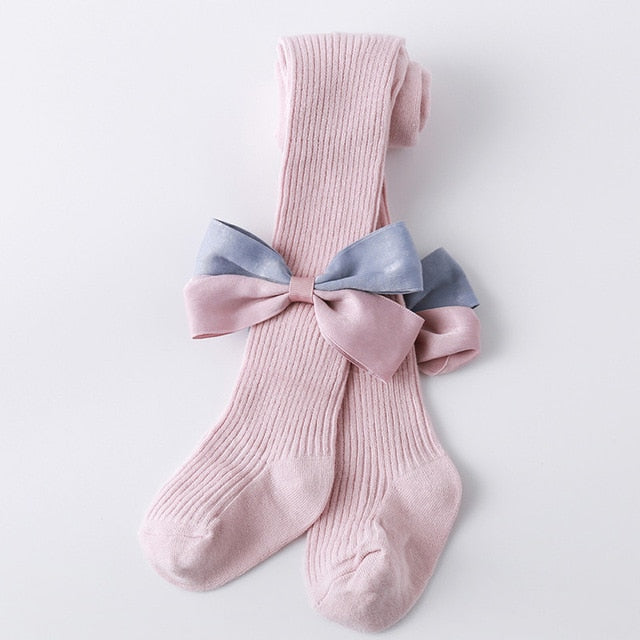 Baby Girls Bow Solid Color Tights - Little Swan Boutique