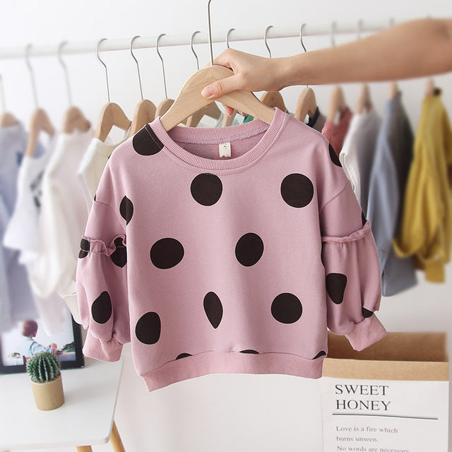 Adorable Girls Polka Dot Print Sweater With Ruffled Sleeves