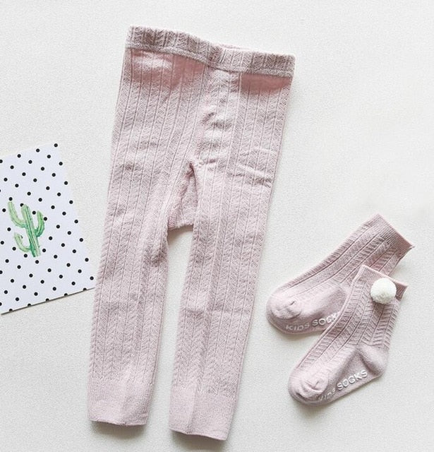 Girls Solid Knitted Leggings With Matching Socks
