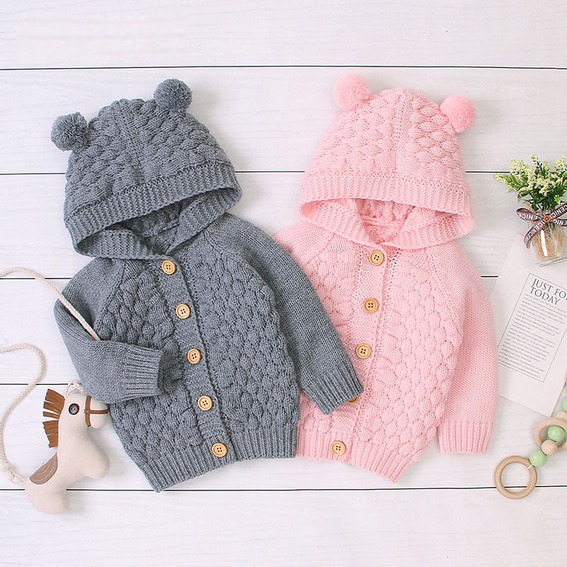 Cute Baby's Knitted Cardigan With Hood