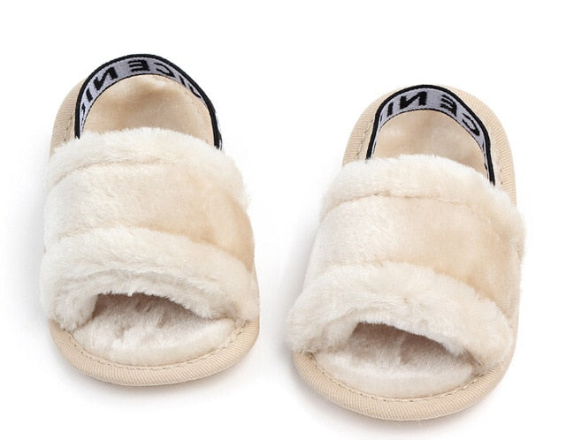 Baby's Soft Plush Elastic Band Velvet Sandals - Little Swan Boutique
