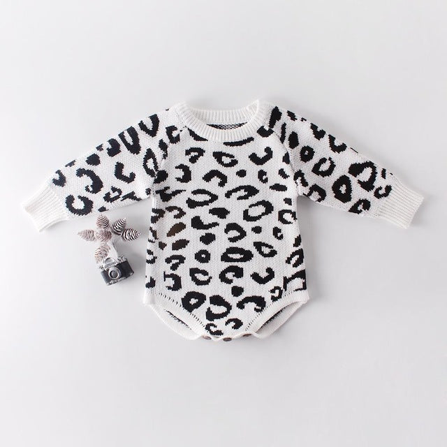 Baby Girls Knitted Leopard Print Romper - Little Swan Boutique