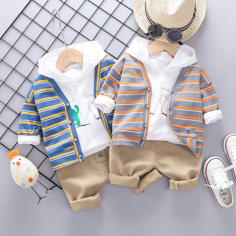 Boys Striped Cactus 3pcs Clothing Set