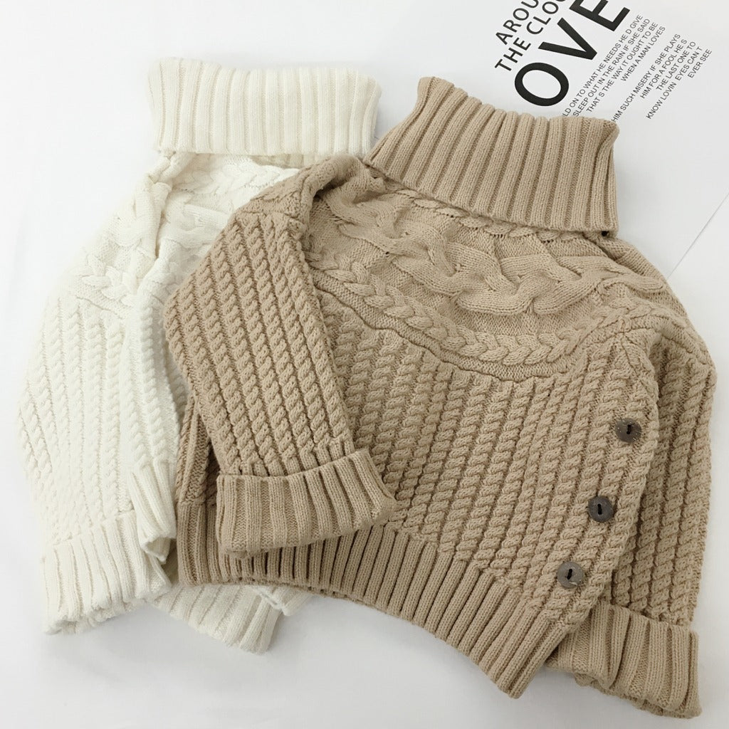 Kids Solid Knit Turtleneck Sweater