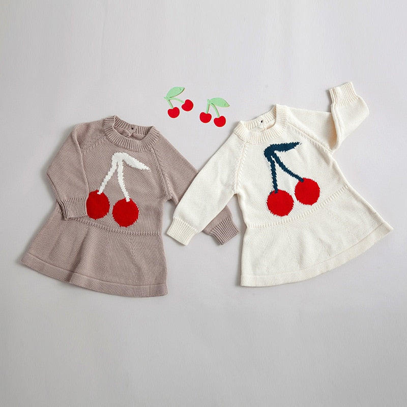 Girls Long Sleeve Knit Cherry Print Sweater Dress