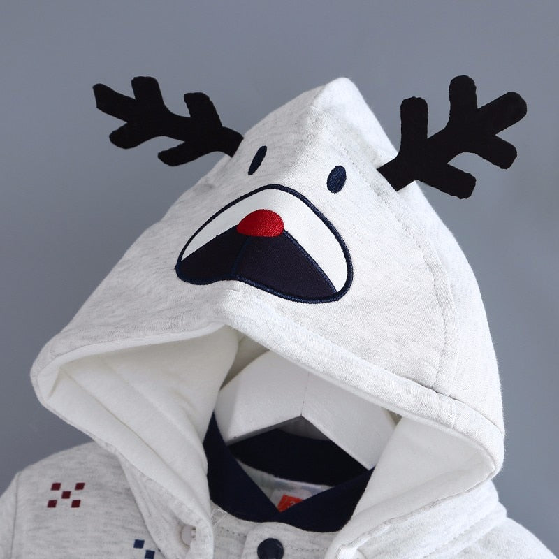 Adorable Baby Christmas Reindeer Hooded Romper - Little Swan Boutique