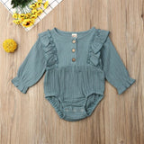 Baby Girls Solid Ruffled Vintage Inspired Romper - Little Swan Boutique