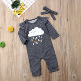 Cute Baby Girls Cloud Print Romper + Headband