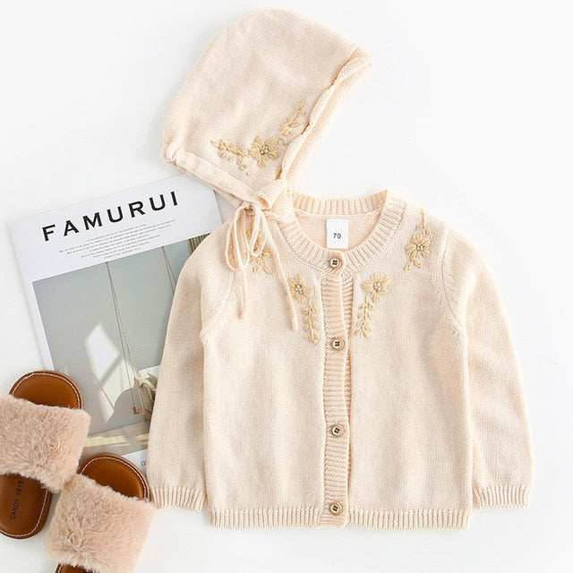 Cute Girls Knit Embroidered Flower Cardigan + Bonnet