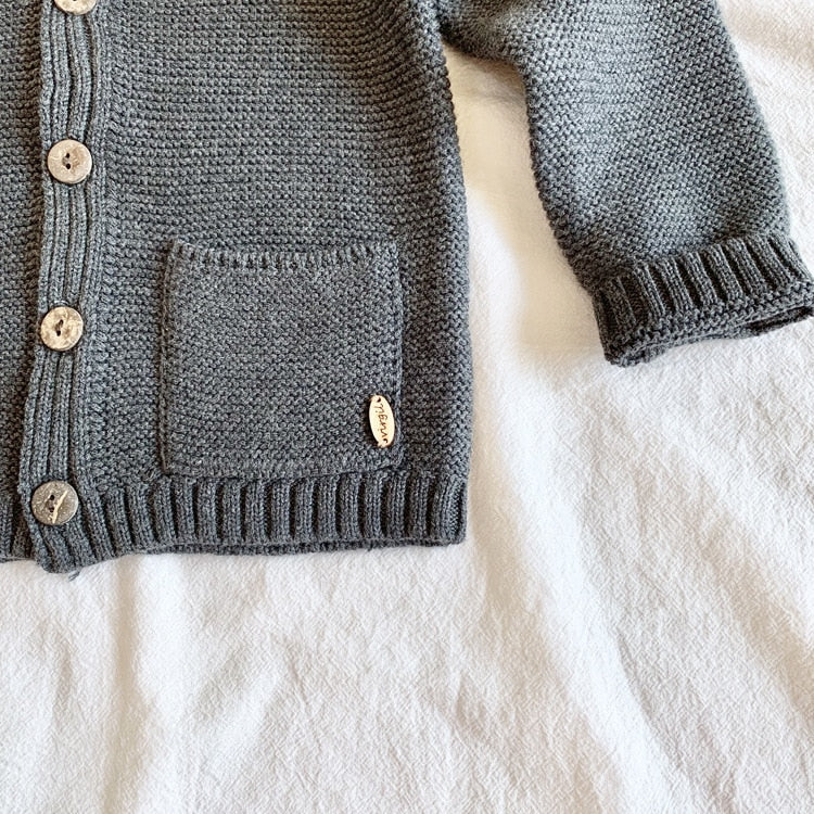 Kids Solid Knitted Cardigan