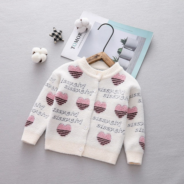 Baby Girls Casual Knitted Heart Print Cardigan - Little Swan Boutique