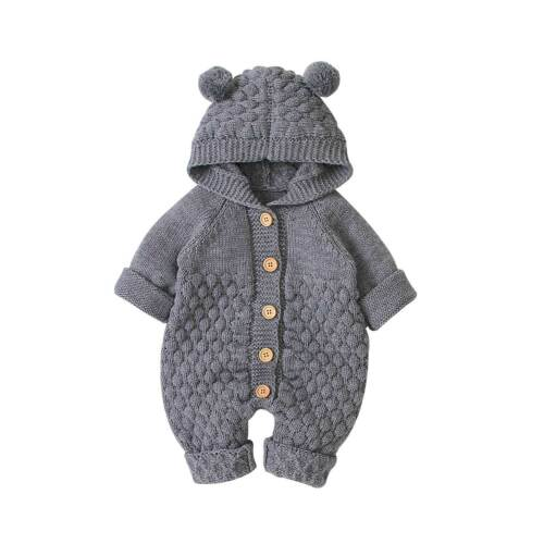 Baby's Solid Bear Ear Knit Hooded Romper