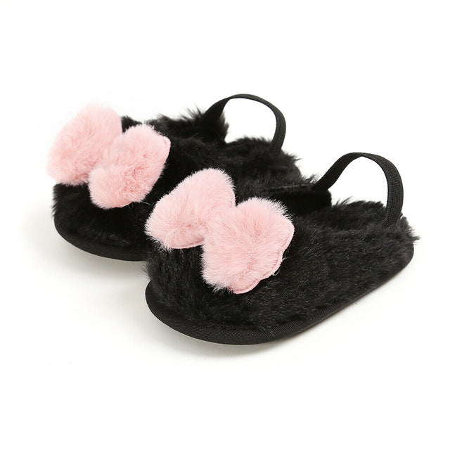 Cute Baby Girls Faux Fur Bow Slippers