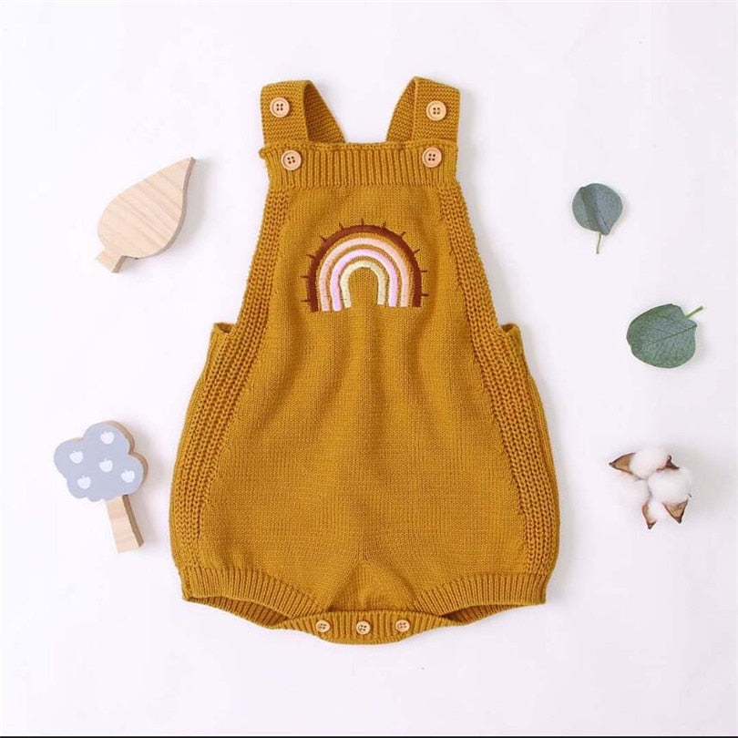 Baby Girls Sleeveless Knitted Rainbow Romper - Little Swan Boutique