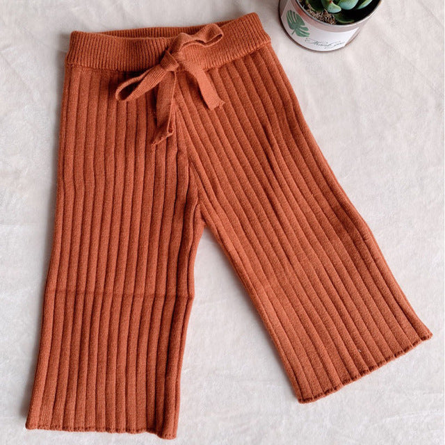 Stylish Girls Solid Wide Leg Knitted Trousers - Little Swan Boutique