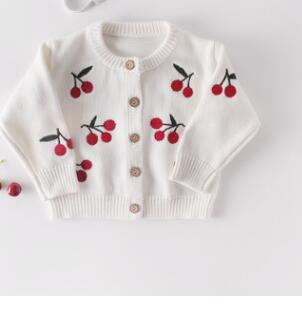 Cute Baby Girls Knit Cherry Print Romper + Cardigan - Little Swan Boutique
