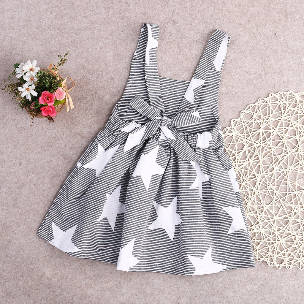 Cute Girls Star Printed Casual Summer Dress - Little Swan Boutique