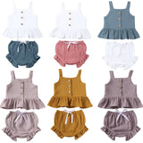 Cute Girls Sleeveless Ruffled Tank top + Mini Shorts