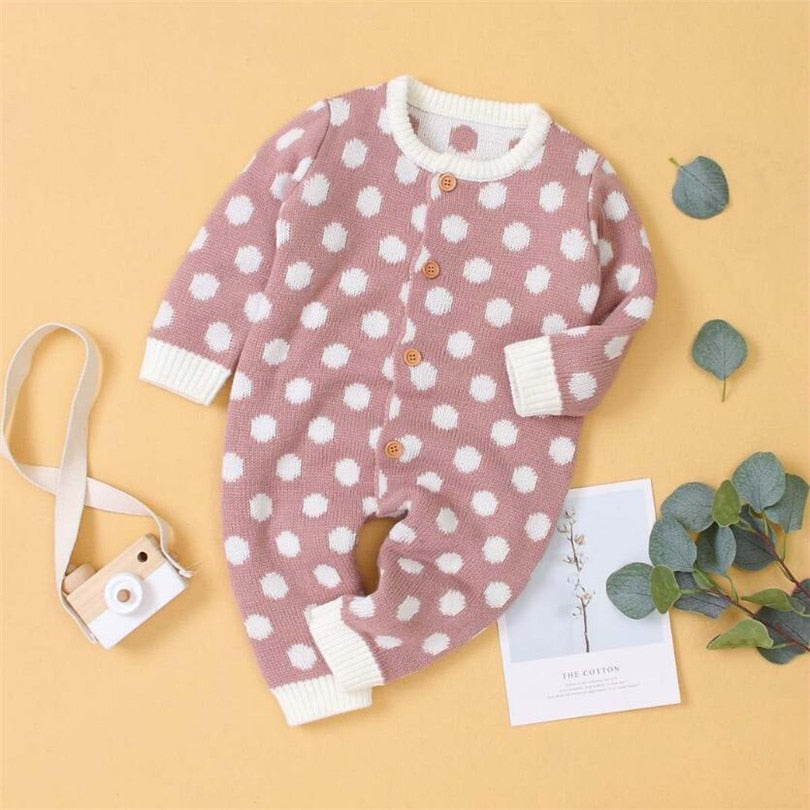 Cute Baby Knitted Polka Dot Colorful Jumpsuit - Little Swan Boutique