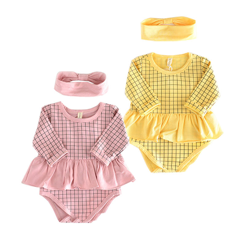 Baby Girls Pineapple Romper + Headband - Little Swan Boutique