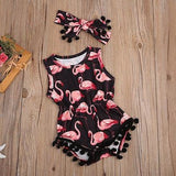 Baby Flamingo Tassel Romper + Headband - Little Swan Boutique