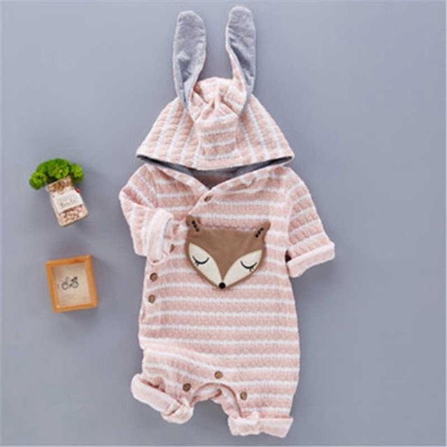 Cute Fox Hooded Jumpsuit - Little Swan Boutique