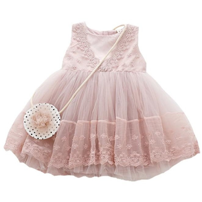 Beautiful Girls Dress With Small Purse - Little Swan Boutique