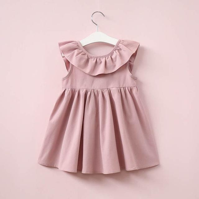 Girls Backless Bow Dress - Little Swan Boutique