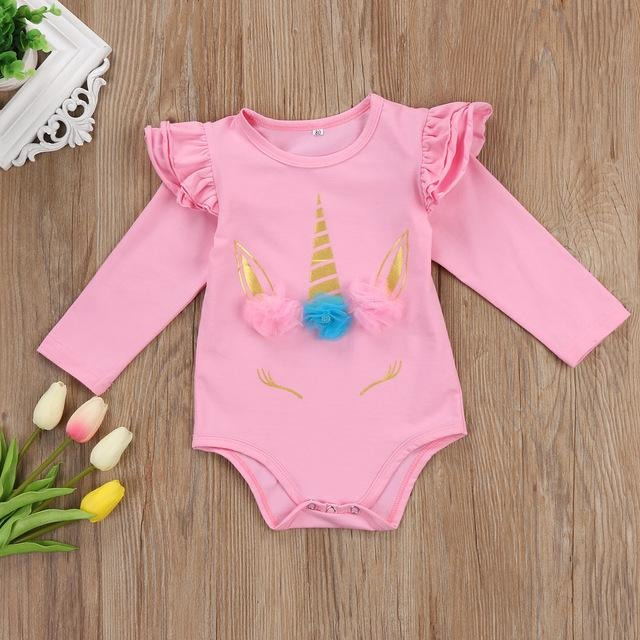 Unicorn Long Sleeve Ruffles Romper - Little Swan Boutique