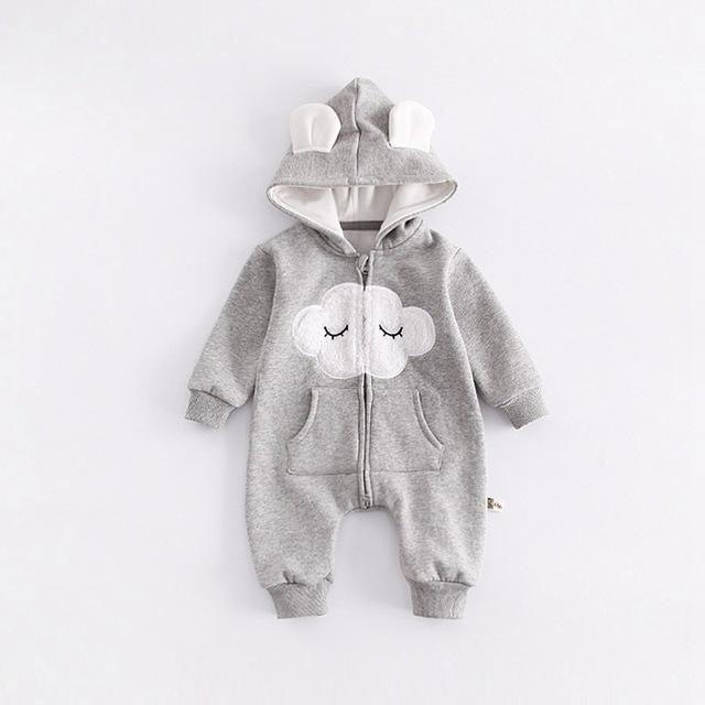 Cloud Baby Hooded Jumpsuit - Little Swan Boutique