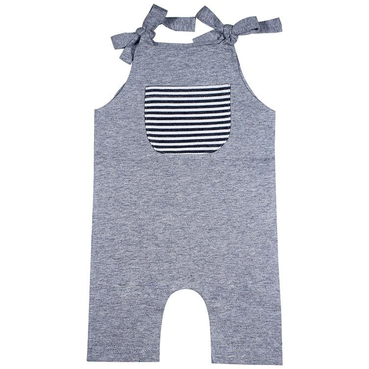 Sleeveless Grey Baby Jumpsuit - Little Swan Boutique