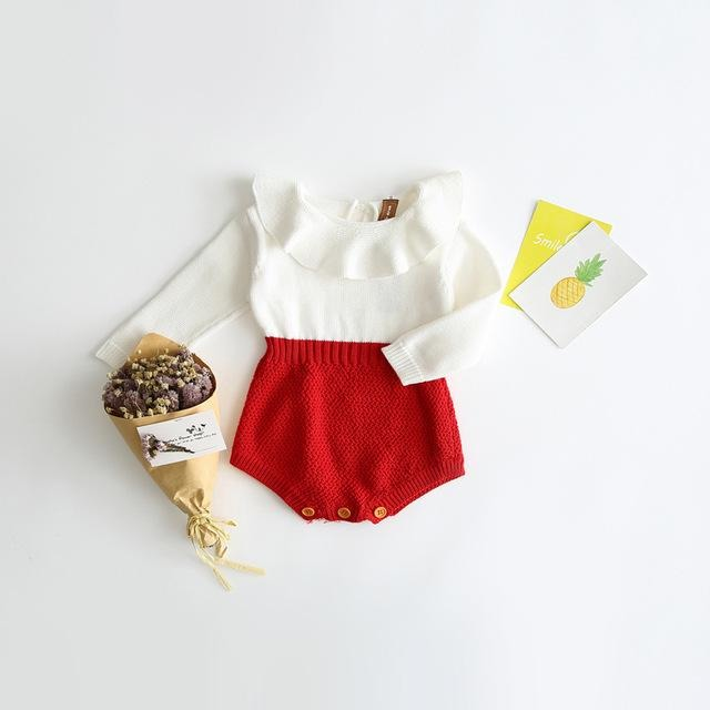 Baby Girls Knitted Romper - Little Swan Boutique