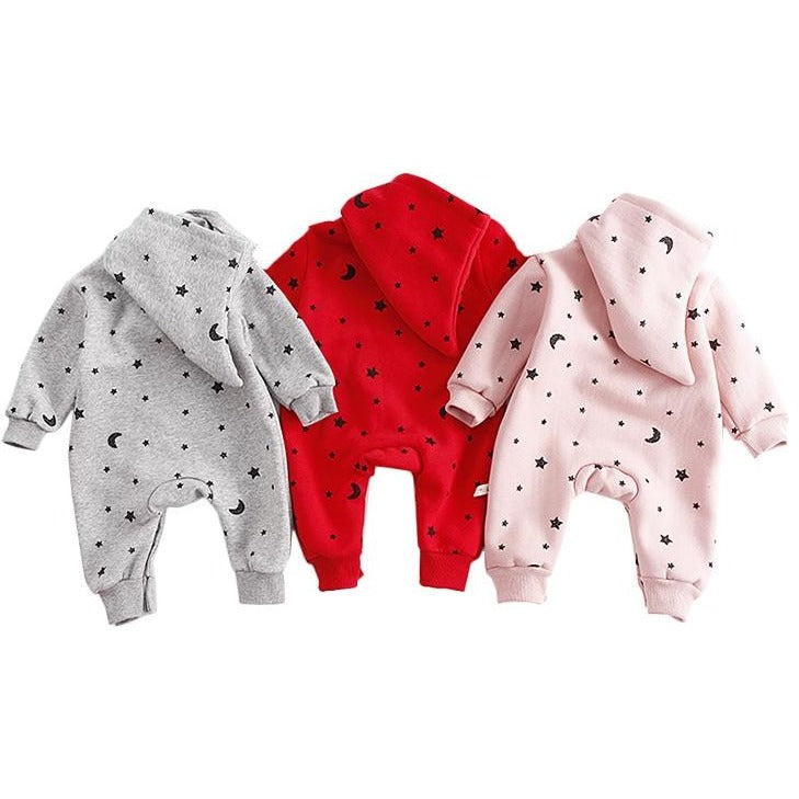 Baby Star Hooded Jumpsuits - Little Swan Boutique