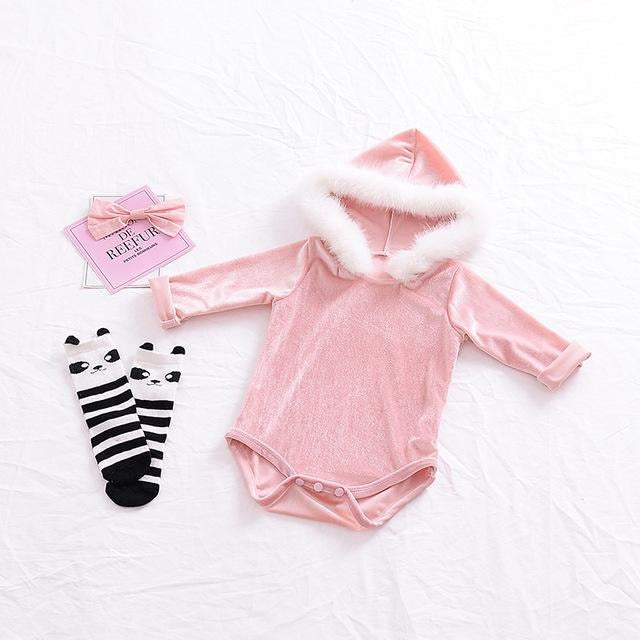 Baby Girls Hooded Velvet Bodysuit - Little Swan Boutique