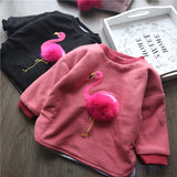 Little Girls Flamingo Pompom Top - Little Swan Boutique