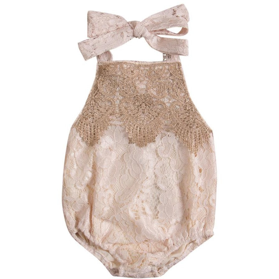 Baby Girls Backless Lace Romper - Little Swan Boutique