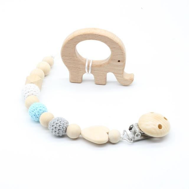 Baby Pacifier Clip With Crochet Beads - Little Swan Boutique