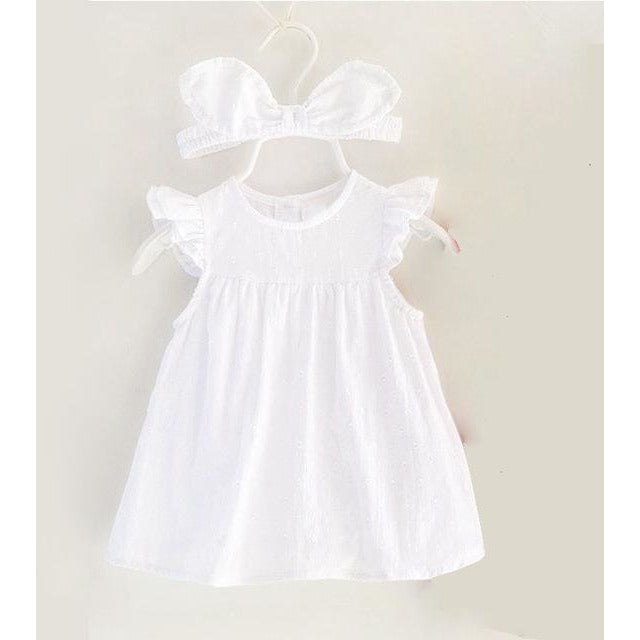 Baby Girls Summer Dress With Headband - Little Swan Boutique