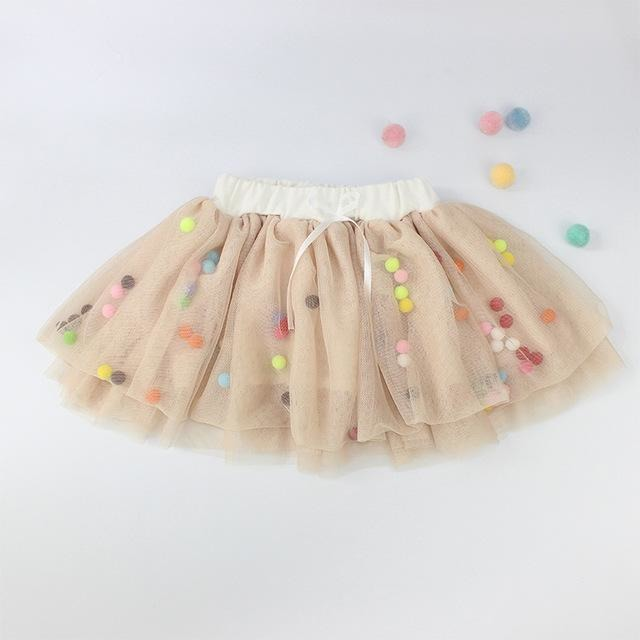 Girls Pompom Tutu Skirt - Little Swan Boutique