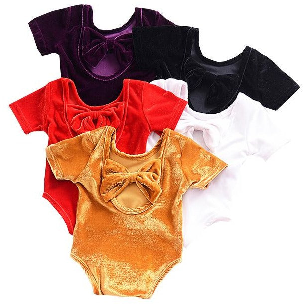 Baby Girls Velvet Bow Bodysuit - Little Swan Boutique