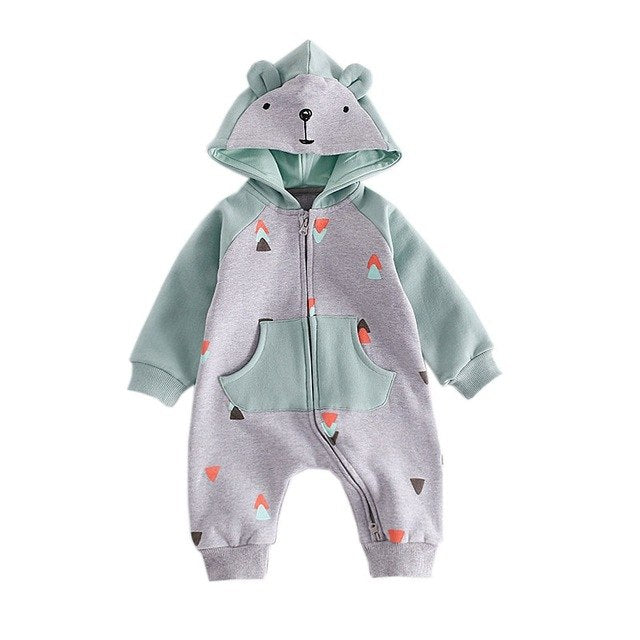 Warm Baby Bear Hooded Jumpsuit - Little Swan Boutique