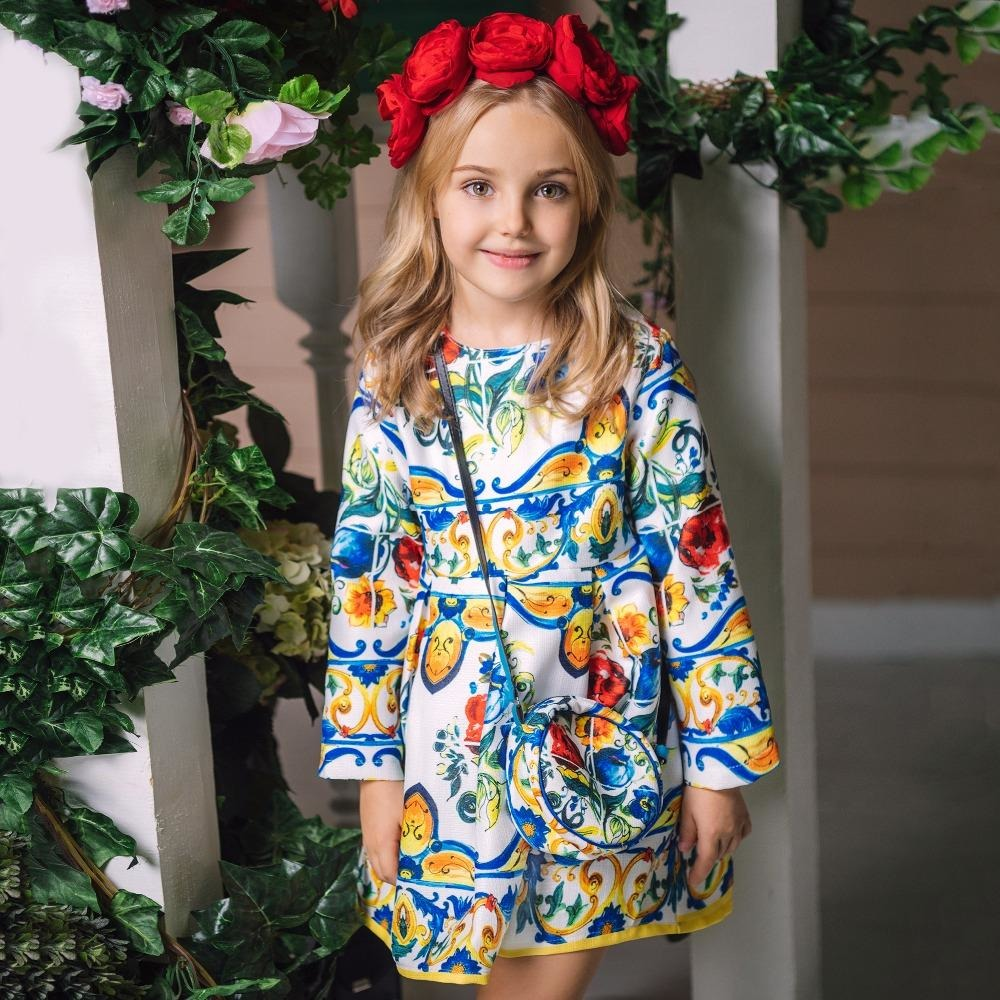 Girls Long Sleeve Dress - Little Swan Boutique
